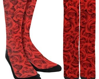 Red Rose Crew Socks - Red Roses Socks - Cute Socks - Unique Socks -Novelty Socks -Flower Socks -Cute Socks -100% Comfort - FREE Shipping C40