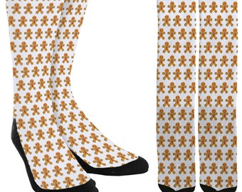 Gingerbread Men Crew Socks - Holiday Socks - Cookie Socks - Christmas Socks -Unique Socks - Novelty Socks - Cool Socks - FREE Shipping D75