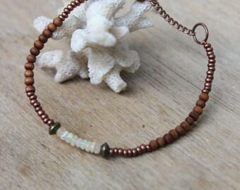 Bracelet Ethnique • Opales Ethiopienne • perles Cuivre • Bois de Santal • Bronze • Bijoux Ethnique • Bijoux Bohème • Intemporel • Artisanal