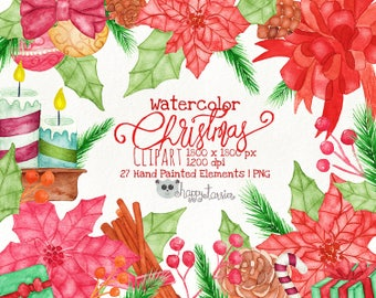 Watercolor Christmas Clipart, Hand Illustration, Hand Drawn, Christmas, Embellishment, Decoration, Red, Green, Clip Art, Watercolour, WCI001