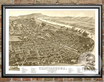 Chattanooga, Tennessee Art Print From 1886 - Digitally Restored Old Chattanooga, TN Map Poster - Perfect For Fans Of Tennessee History