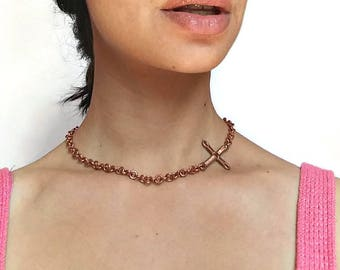 Sideways Cross Necklace, Statement Chain Choker, Gift for Godmother, Wire wrapped cross, Wire Wrap Jewelry for Women, Copper Chain for her