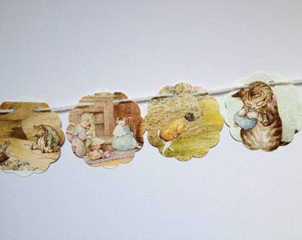 Beatrix Potter Garland, Easter Bunting, Nursery Decor, Spring Garland, New Baby Gift, Children's Party Decor, Eco Friendly Banner