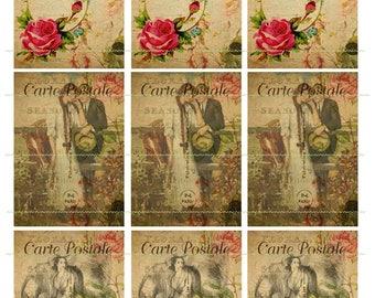INSTANT DOWNLOAD Carte Postale Flower Vintage Tag Red Rose Leaf Romantic Couple Atc Tag Decoupage Printable Digital Collage Sheet Post Card