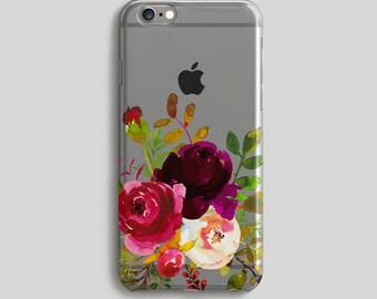 Peonies iPhone 7 Case, Floral iPhone 6 Plus Case, Flores Phone Case, iPhone 5 Case, iPhone Cover, Clear iPhone 6S Case, Transparent Case
