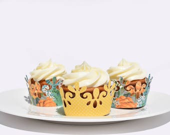 Yellow Rose Cupcake Wrappers, Set of 12