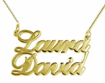 925 sterling silver name necklace with double yellow white pink custom hypoallergenic female