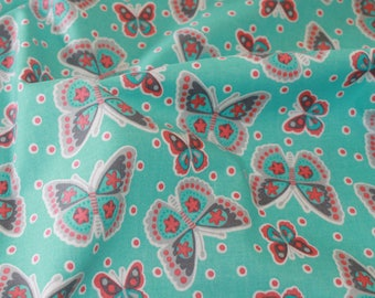 Light Turquoise Butterfly Cotton Fabric 100% Cotton, Craft Cotton , Quilting Cotton