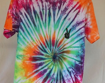 25% OFF ENTIRE SHOP Adult Size S - Ready To Ship - Unisex - Bright Spiral - Tie Dyed - T-shirt - 100 Percent Cotton - Free Shipping within A