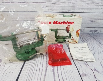 Vintage Green Metal Apple Peeler Kitchen Fox Run Craftsmen Suction Based Tool Gadget With Box from the 70s Modern Mid Century Decor