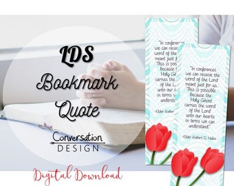 LDS, Mormon, Conference, Quote, Bookmark, Tulips, Printable, Free, phone wallpaper, background, digital download