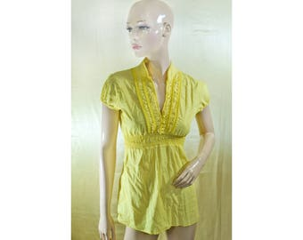 Vintage women top blouse yellow cotton Made in Italy