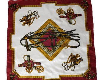 Vintage 100% SILK women scarf hand rolled riding equitation