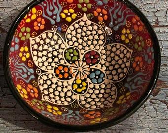 Handmade Dot Painted Bowl, Mandala Design