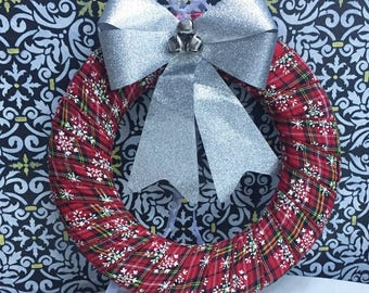 """12"""" Red and Silver Wreath   Christmas Wreath   Holiday Wreath"""