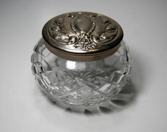 Waterford Crystal & Sterling Silver Powder Dish | c. 1970's