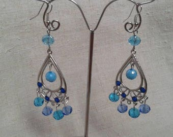 Blue Pearl and Silver earrings