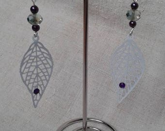 beads and white leaf earrings
