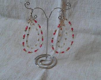 hoop earrings pink and white