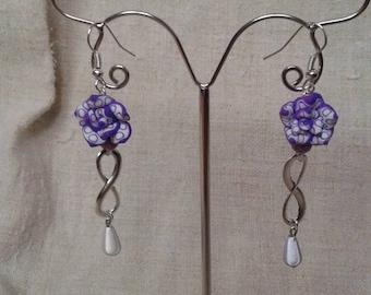 Purple marbled Flower Earrings