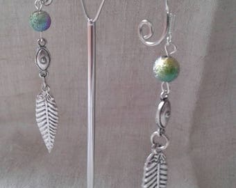 "Earrings ""silver leaf and Pearl"""
