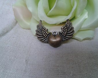 """set of 3 charms bronze """"winged heart"""""""