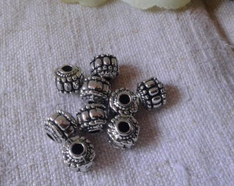 set of 10 silver beads, large holes