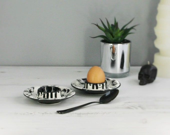 Skull Egg Cup, Set of 2, Breakfast Sets, Skulls Drip Design, Ceramic Item, Unique Hand Painted, Weird and Wonderful, Boiled Egg