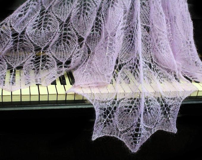 Knitted shawl, lilac shawl, wedding wrap, knit shawl with beads, knit scarf, knitted scarf, mohair shawl, openwork scarf, hand knit shawl