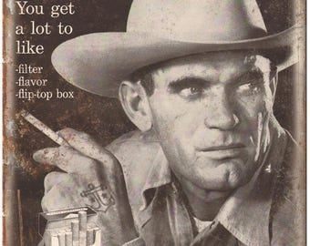 "Marlboro Cigarette Ad Cowboy 10"" X 7"" Reproduction Metal Sign Y03"