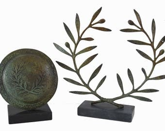 Victory olive wreath and shield high quality Olympia bronze reproduction set