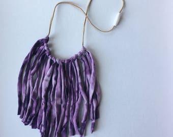 Fringe necklace , hand dyed frine necklace , boho fringe necklace