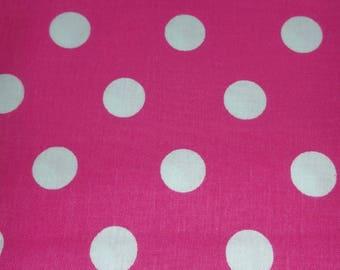 Sale! Clearance! Pink Polka Dot Fabric, White Polka Dot Fabric, Kitchen Fabric, Hot Pink Fabric, Sold by the Half Yard