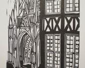 Rouen - Linogravure