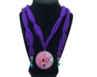 Bright Tulips – Art On Glass Necklace – one size fits all