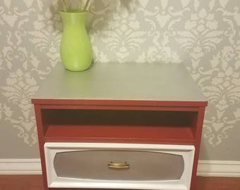 Upcycled Midcentury Side Table - Red and Silver