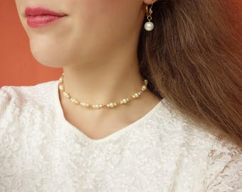 Pearl Choker Necklace, White Bead Choker, Wedding Choker, Bridal Choker, Dainty Choker, White Choker, Freshwater Pearl Choker, Gold Choker