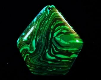 Green Malachite Stone Pendant Green Black Stripes Agate Hexagon Stone Pendant Bead