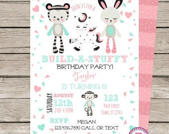 Build A Stuffed Animal Birthday Party Invitation Adopt a Pet Party Pet Adoption Teddy Bear Puppy Unicorn Bunny Monkey Kitten Build A Stuffy
