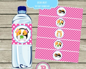 Guinea Pig and Hamster Birthday Party Drink Wraps Water Bottle Labels Instant Download DIY Printable