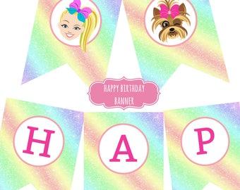 JoJo Siwa Birthday Party Happy Birthday Banner Instant Download 5x7 size Bows Puppy Rainbow Unicorn