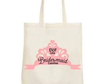 Tote bag personalized bachelorette party Bachelorette girl princess Crown