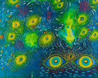 Underwater Universe:Original Acrylic Painting,Celebration,Water,Mystery,Eyes,Galaxies