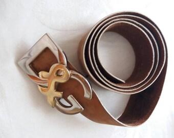 Brown leather belt D & G