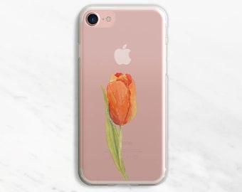 Orange Tulip iPhone 7 Case Clear iPhone 6 Case Clear iPhone 6 Plus Case Clear iPhone 7 Plus Case Clear iPhone Case Clear