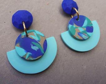 Fan Drop Earrings - Blue Lagoon / Polymer Clay Earrings / Stud Earrings / Drop Earrings