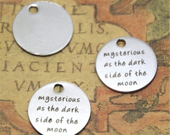 10pcs mysterious as the dark side of the moon charm silver tone message charm pendant 20mm ASD2044