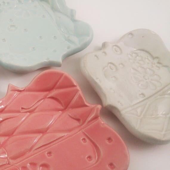 Ceramic Spoon Rest Tea Bag Plate Coaster Handmade Ready to Ship