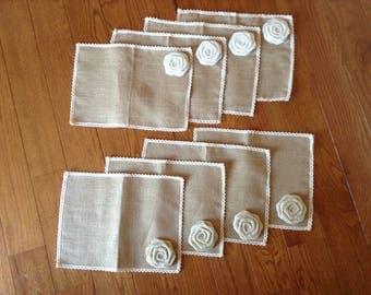 Burlap Flower Placemats, Burlap and Lace Placemats, Lace Placemats, Placemats