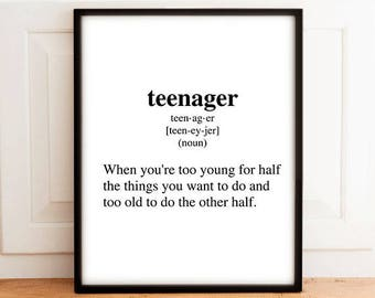 Definition Teenager, Digital Print, Wall Art, Wall Print, Typography Art, Typography, Art Funny, Decor, Printable Quote, Typography Print